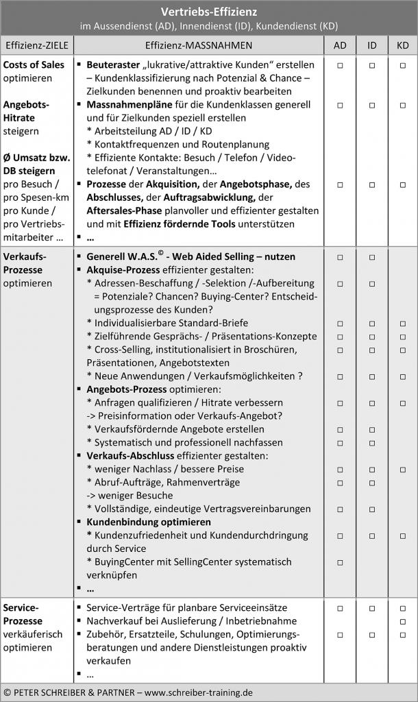 Vertriebseffizienz - Checkliste